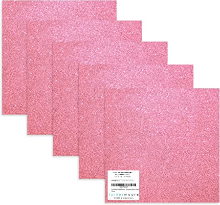 Amazon Com Pink Glitter Vinyl 12 X12 Transparent Glitter Vinyl Sheets For Cricut Maker Explore Silhouette Cameo Decals Stickers Bottles Tumblers Bonus Sample By Turner Moore Edition Pink Glitter 5 Pk Arts Crafts Sewing
