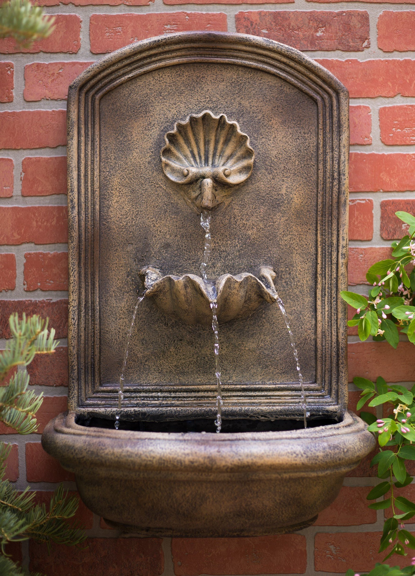 The Napoli - Outdoor Wall Fountain - Florentine Stone Finish - Water Feature for Garden, Patio and Landscape Enhancement