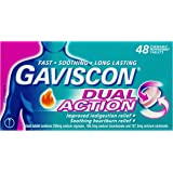 Gaviscon Dual Action Chewable Peppermint Heartburn & Indigestion Relief Tablets (Count of 48)