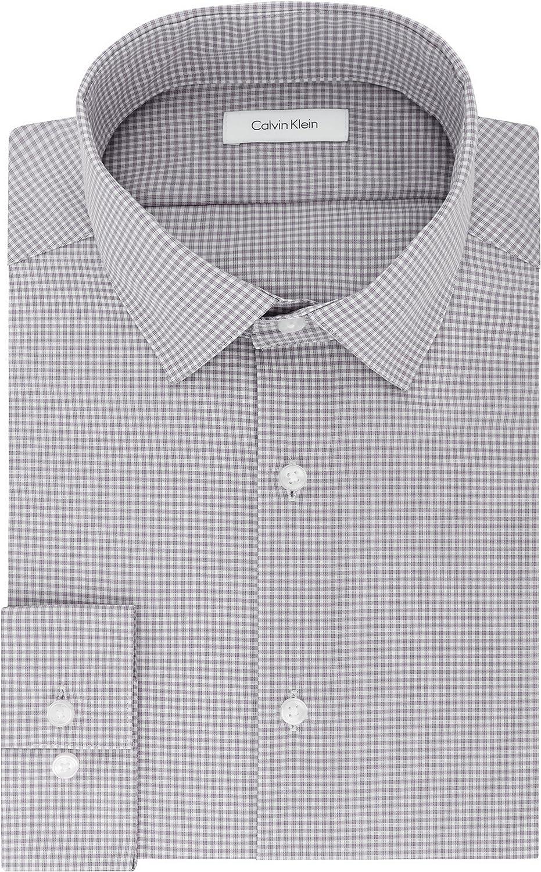 Calvin Klein Men's Dress Shirt Slim Fit Non Iron Gingham