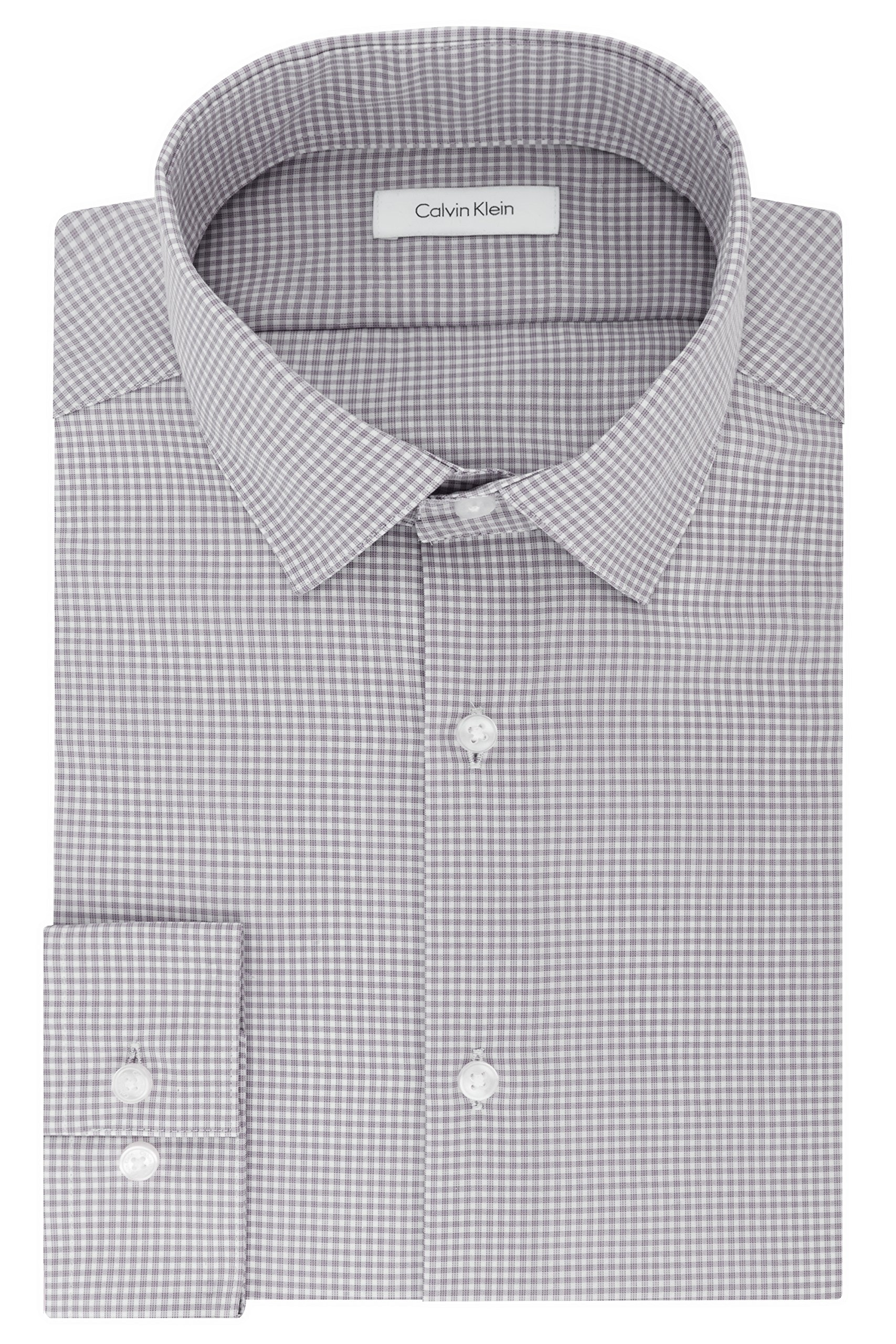 Calvin Klein Men's Big and Tall Dress Shirts Non Iron Slim Fit Gingham Spread Collar, Grey, 18.5'' Neck 36''-37'' Sleeve