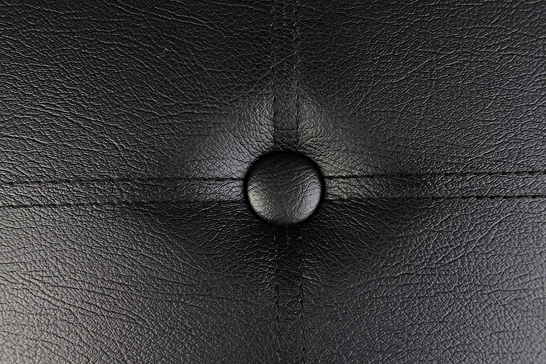 43 Long Faux Leather Folding Storage Bin Bench, Seat Ottoman Foot Rest, Black Color