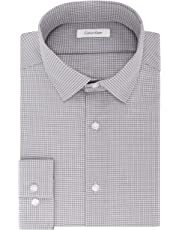 edee05bf9358 Calvin Klein Mens Dress Shirts Non Iron Slim Fit Gingham Spread Collar