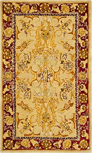 Safavieh Taj Mahal Collection TJM121A Handmade Traditional Sage and Red Wool Area Rug 3' x 5'