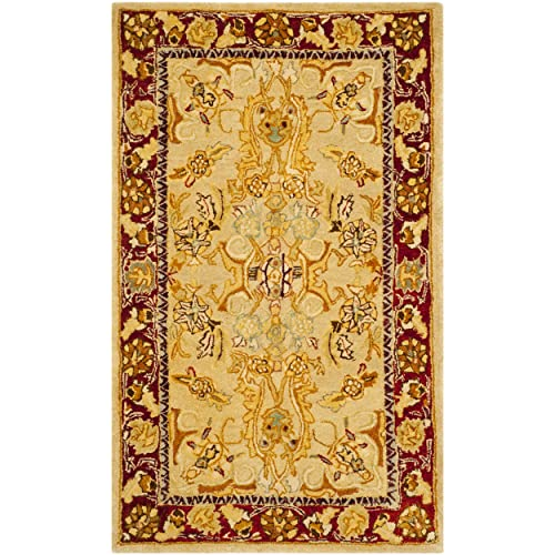 Safavieh Taj Mahal Collection TJM121A Handmade Traditional Sage and Red Wool Area Rug 3 x 5