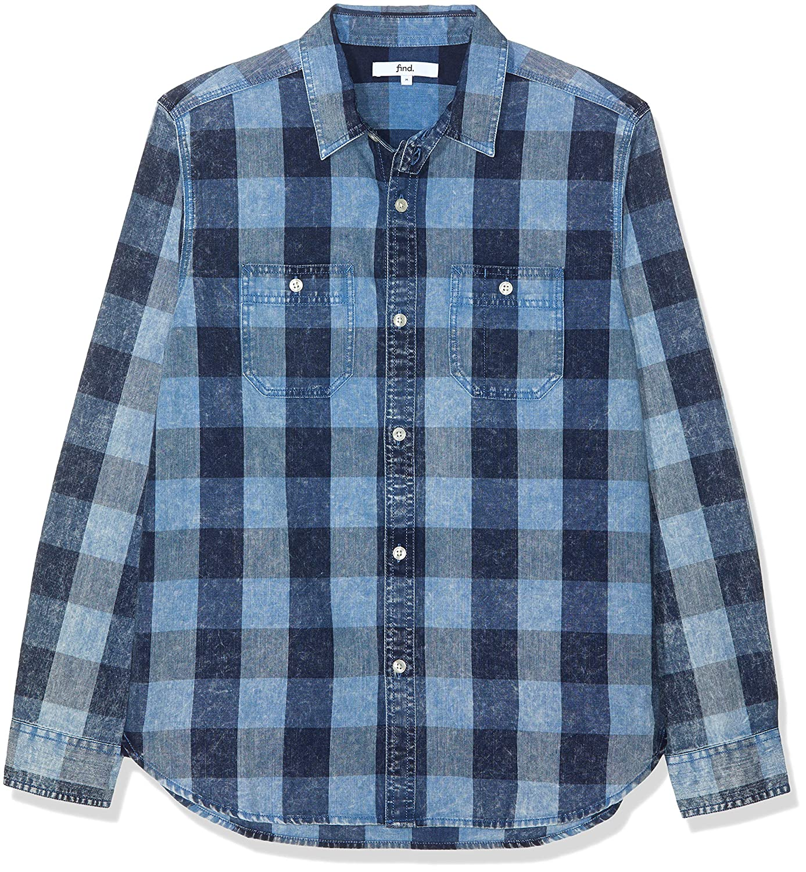 TALLA 50 (Talla del Fabricante: Medium). find. Camisa de Cuadros de Manga Larga para Hombre