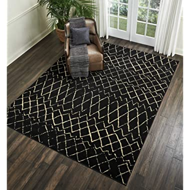 Nourison Grafix Modern Contemporary Area Rug, 7'10  x9'10, Black