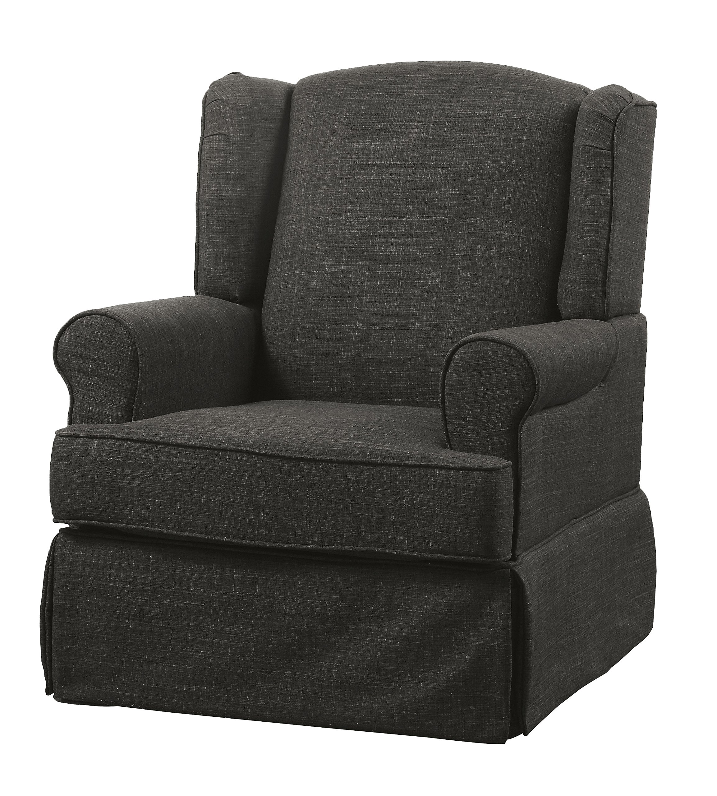 HOMES: Inside + Out IDF-RC6508DG Imogen Transitional 360 Glider and Rocker Chair, Dark Grey