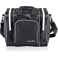 Athletico Bowling Bag for Single Ball - Single Ball Tote Bag with Padded Ball Holder - Fits a Single Pair of Bowling Shoes Up to Mens Size 14