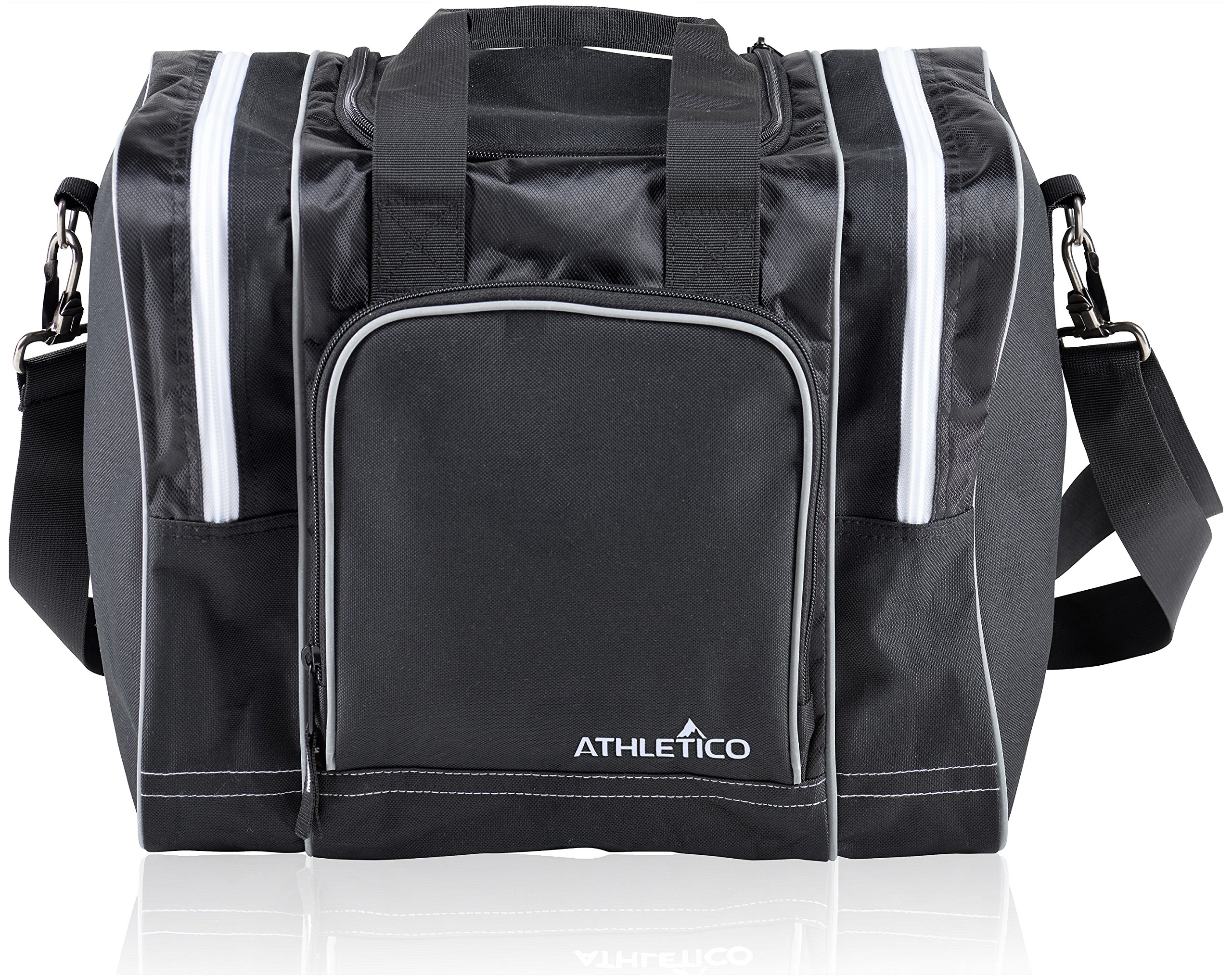 Athletico Bowling Bag for Single Ball - Single Ball Tote Bag with Padded Ball Holder - Fits a Single Pair of Bowling Shoes Up to Mens Size 14 (Black) by Athletico