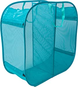 Amelitory 2 Compartment Mesh Pop-up Laundry Hamper for Home,Dorm,Travelling Storage Lake Blue