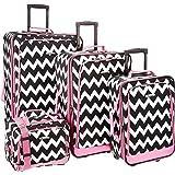 Rockland 4 Piece Pink Chevron Luggage Set