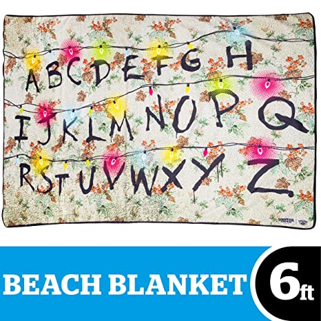 A Stranger Things Christmas.Bigmouth Inc Stranger Things Christmas Lights Alphabet Wall Beach Blanket 6 Foot Oversized Beach Towel Blanket With Stranger Things Theme