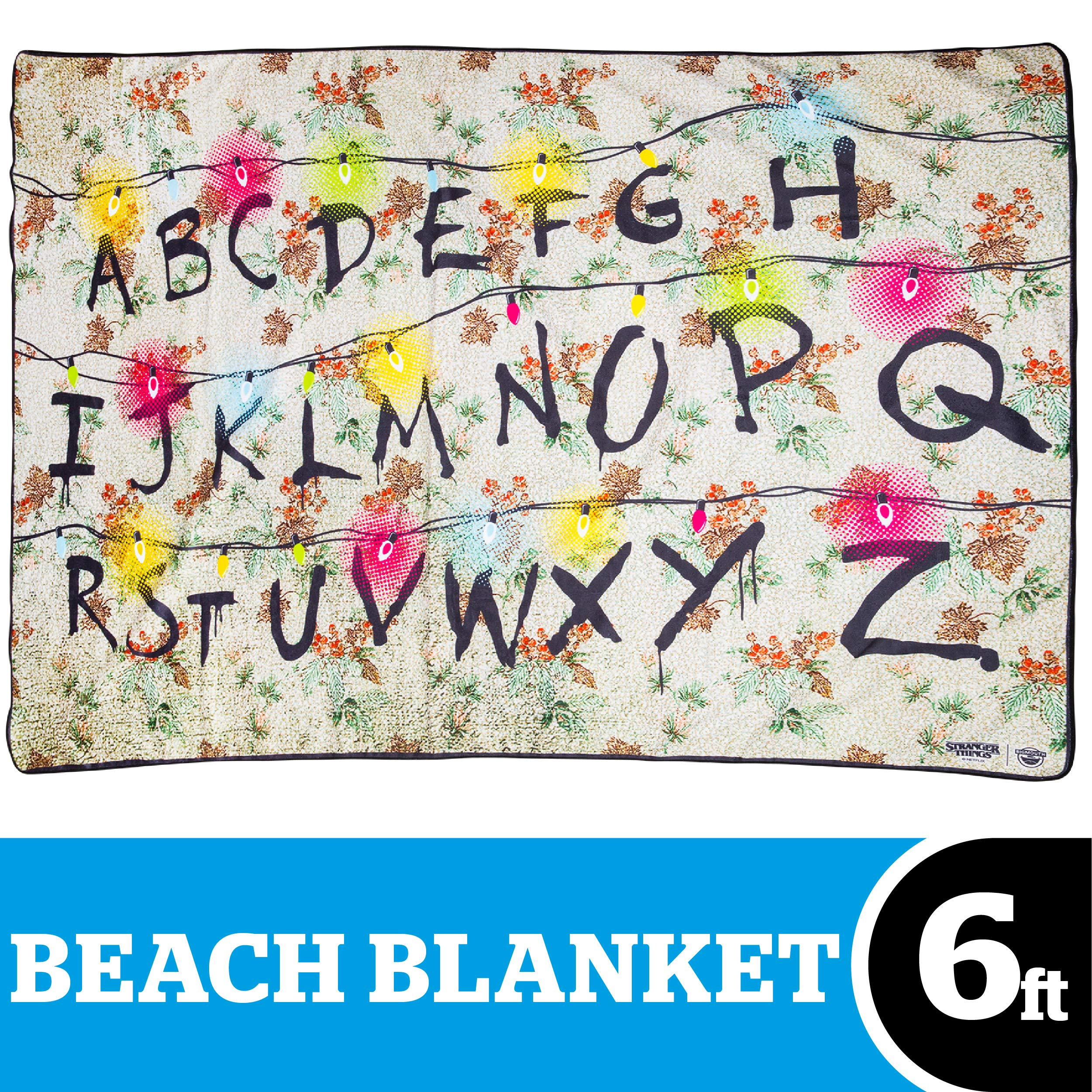 BigMouth Inc. Stranger Things Christmas Lights Alphabet Wall Beach Blanket - 6- Foot Oversized Beach Towel Blanket with Stranger Things Theme, Ultra-Soft, Machine Washable, Makes a Great Gift