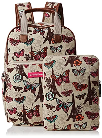 Amazon.com: Noel Paris Butterfly Floral Print Essex Backpack School Bag & Ipad Case in Beige - SWANKYSWANS: Computers & Accessories