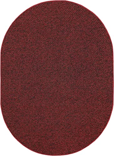 Outdoor Artificial Turf Burgundy Area Rugs with Premium Non Skid Backing Great for Decks, Patio s Gazebo s to Pools, Docks Boats and Other Outdoor Recreational Purposes 8 x10 Oval