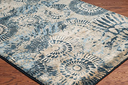 Rizzy Home Bellevue Collection Polypropylene Area Rug, 7 10 x 10 10 , Blue Tan Khaki Medallion
