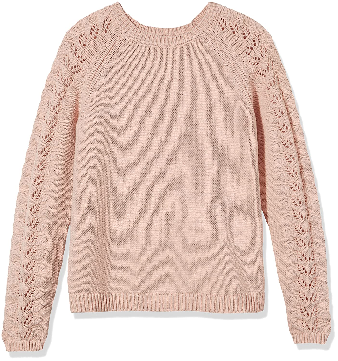 Kid Nation Girls Openwork Long Sleeve Round Neck Knit Sweater Vintage Style Pullover