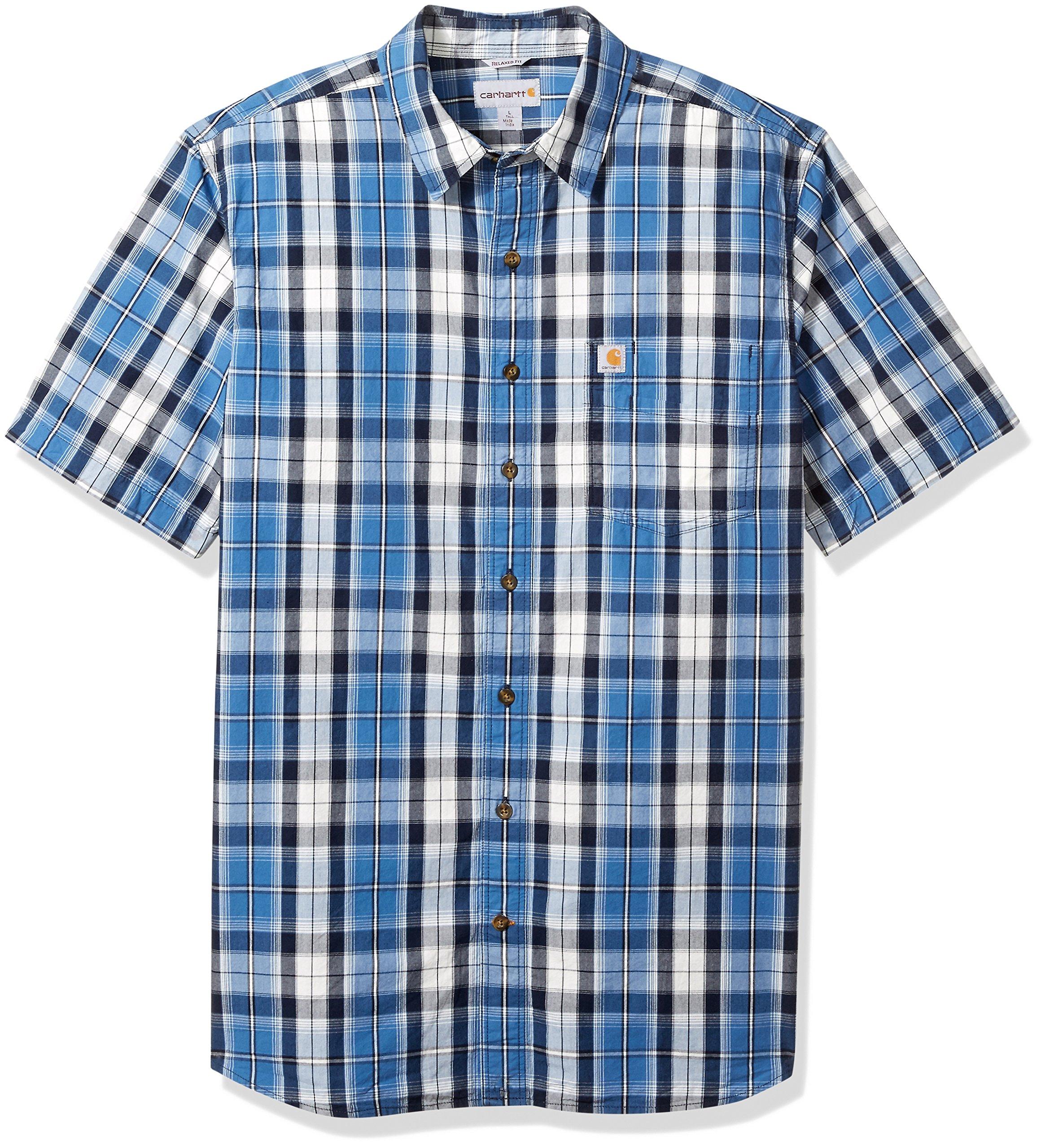 Carhartt Mens Big /& Tall Essential Plaid Button Down Collar Ss Shirt