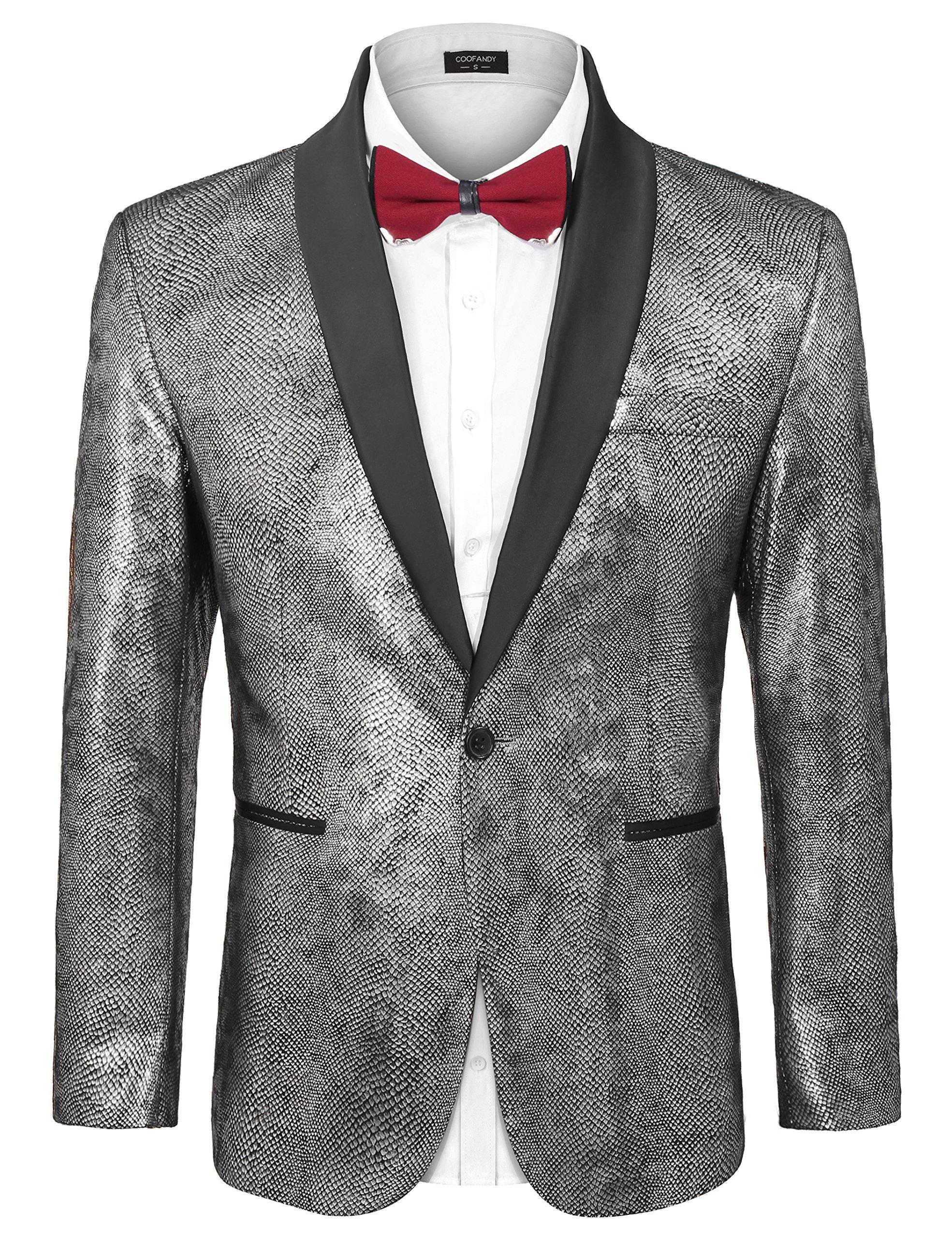 COOFANDY Men's Party Suit Jacket Slim Fit Luxury One Button Lapel Blazer Dress Wedding Dinner Prom Tuxedo Gold Silver