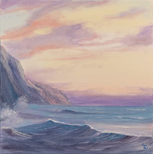 Small Original Coastal Painting Ocean Wave Beach Art Lavender Size Oil