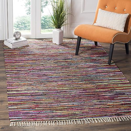 Safavieh Rag Rug Collection RAR128G Hand Woven Multi Cotton Area Rug 8' x 10'