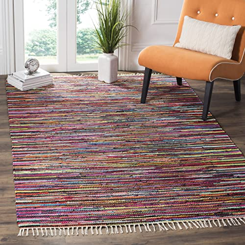 Safavieh Rag Rug Collection RAR128G Hand Woven Multi Cotton Area Rug 5 x 8