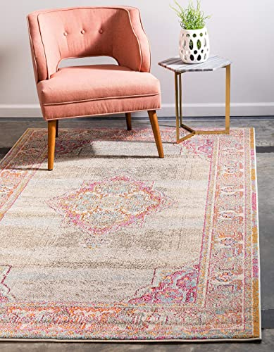 Unique Loom Medici Collection Casual Medallion Vibrant Colors Traditional Light Blue Area Rug 7 0 x 10 0