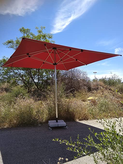 Sombrilla Aloha 400x400 + 160 kg con Ruedas. Grande & Robusta, Fabricada con Materiales de Primera Calidad. (Rojo): Amazon.es: Jardín