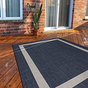 CAMILSON Outdoor Rug - Modern Area Rugs for Indoor and Outdoor patios, Kitchen and Hallway mats - Washable Outside Carpet (6x9, Bordered - Blue / White)