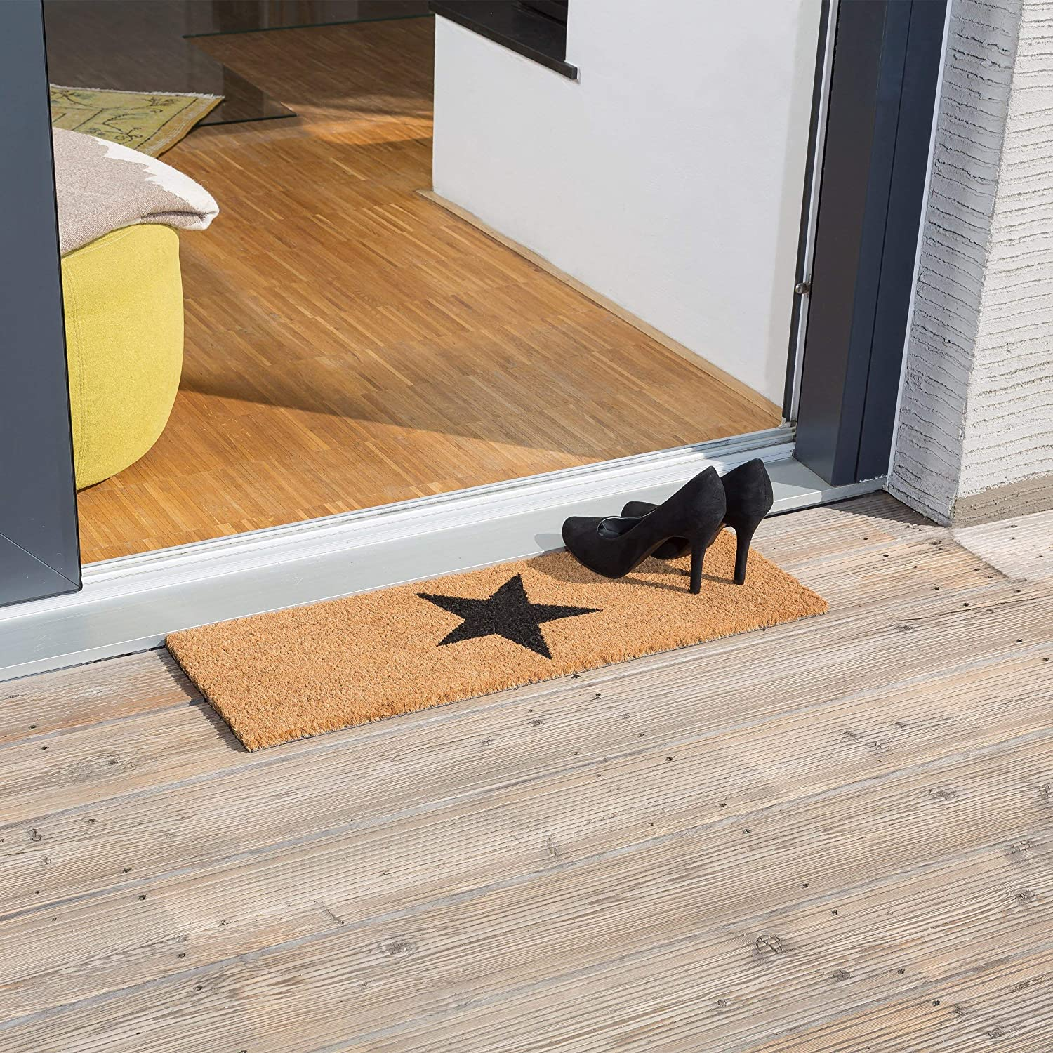 Relaxdays Narrow Coir Doormat With Large Black Star For Indoors And Outdoors W Anti Slip Underside Long Welcome Mat 1 5 X 75 X 25 Cm Natural Brown Amazon Co Uk Kitchen Home
