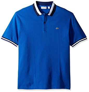 528c294510d Lacoste Men's Short Sleeve Semifancy with Textured Stripe Collar Slim Polo,  Sapphire Deauville Blue,