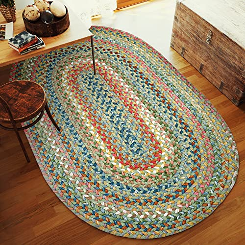 Super Area Rugs Gemstone Textured Braided Rug Indoor Outdoor Rug Durable Green Kitchen Carpet, 5 X 8 Oval