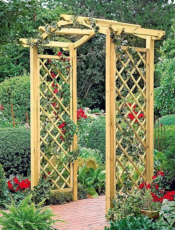 Green Season - Pérgola con arco y enredadera (madera): Amazon.es: Jardín