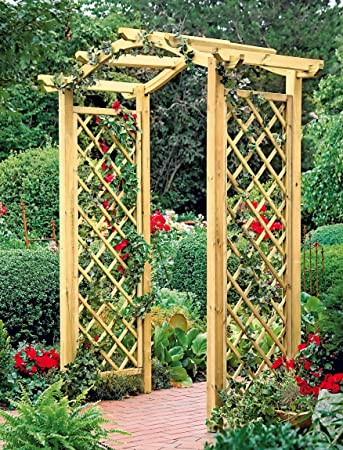 wooden pergola with arch and trellis amazon co uk garden outdoors