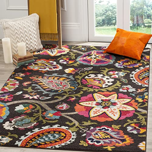Safavieh Monaco Collection MNC229B Modern Colorful Floral Brown and Multicolored Area Rug 9 x 12
