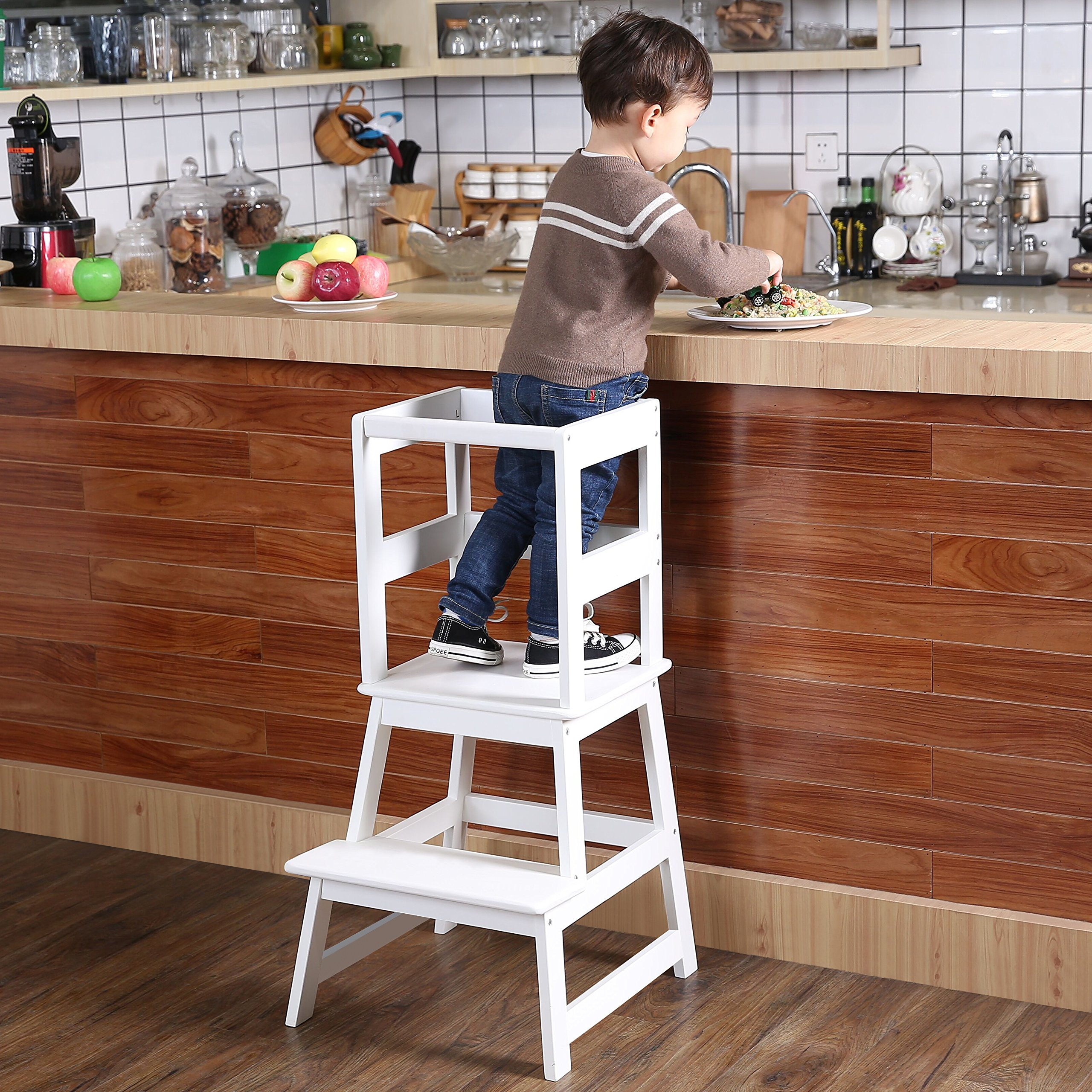 sdadi kids step stool kitchen learning stool with safety rail cpsc certified for toddlers 18. Black Bedroom Furniture Sets. Home Design Ideas