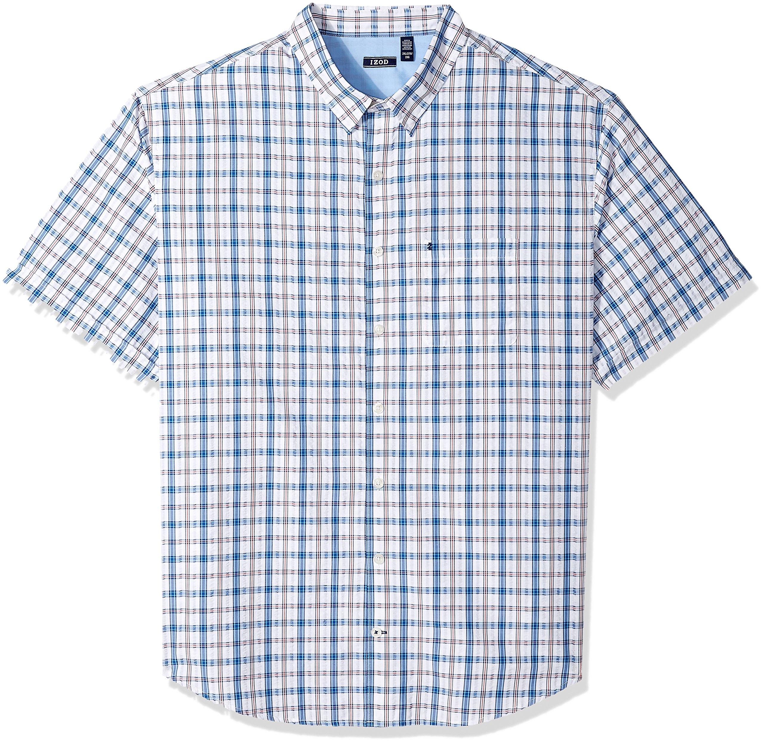 IZOD Men's Tall Short Sleeve Plaid Seersucker Shirt, Bright White, 3X-Large Big