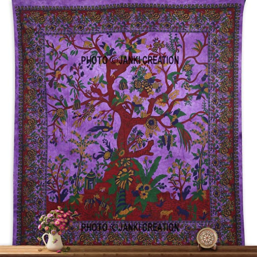 Blue Celtic Art Tapestry Dry Tree Of Life Wall Hanging Hippie Table Cover cm