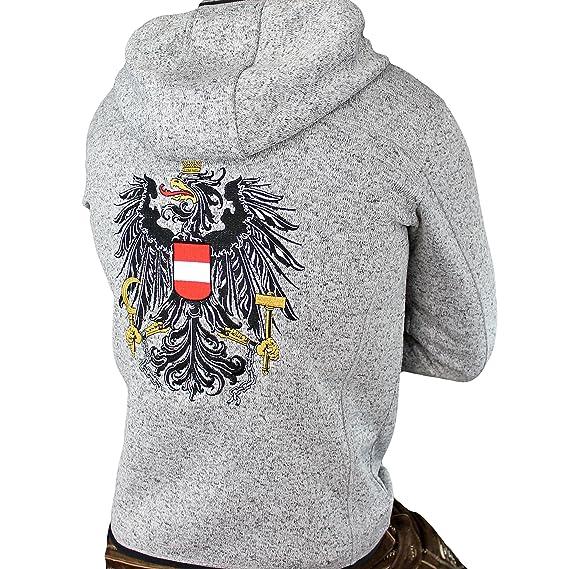 Hoamatkult Österreich Jacke Herren Strickfleece die KULTJACKE hochwertiger Stick