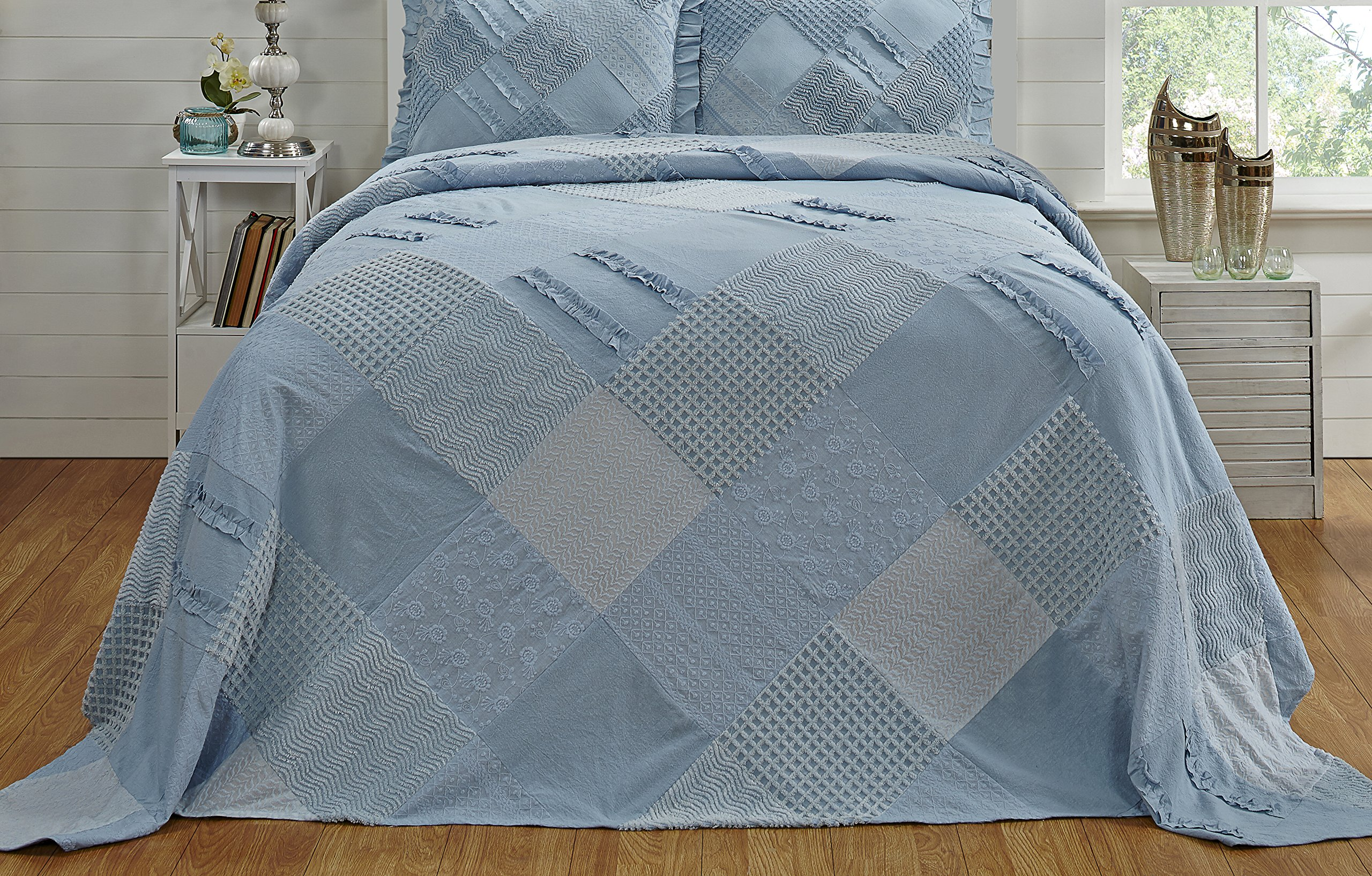 Better Trends / Pan Overseas 96 X 110 Inch Ruffled Chenille Patchwork Bedspread, Full, Blue