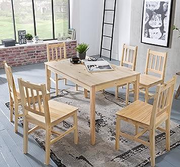 FineBuy Esstisch Mit 6 Stühlen Kiefer Holz Braun Tisch 120 X 73 X 70 Cm |
