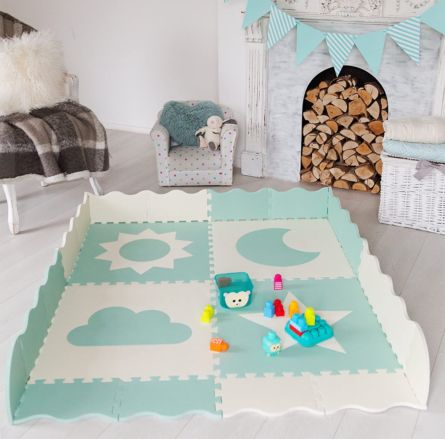 Baby Play Mat Tiles 61 x 61 Extra Large Teal /& White Interlocking Playroom /& Nursery Playmat Safe /& Protective for Infants /& Toddlers Non Toxic Foam Baby Floor Mat