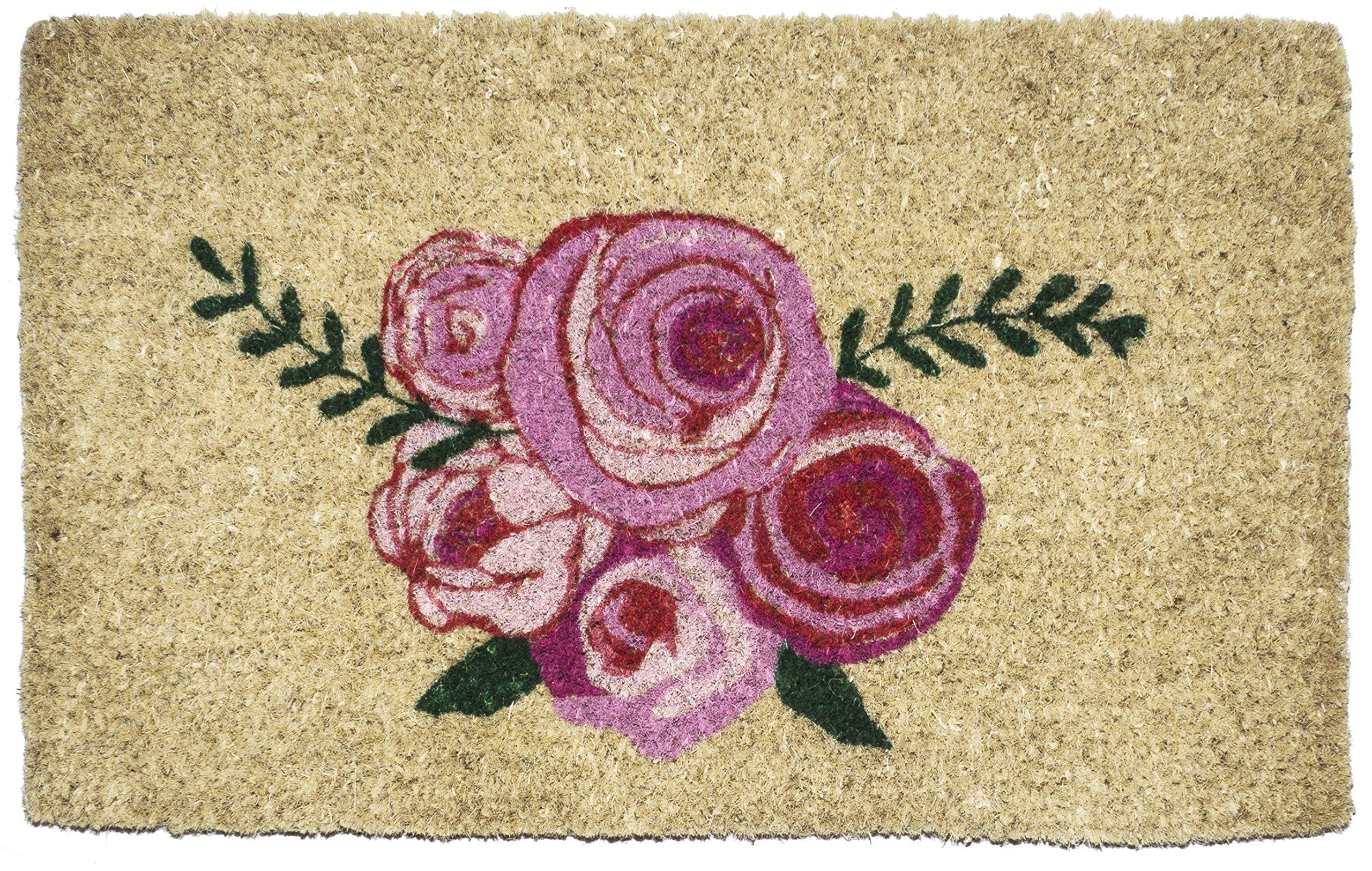 Entryways Roses, Hand-Stenciled, All-Natural Coconut Fiber Coir Doormat 18'' X 30'' x .75''