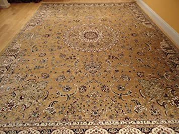 Large Rug Persian Silk Gold 8x12 Rugs Tabriz Area Living Room Goldish