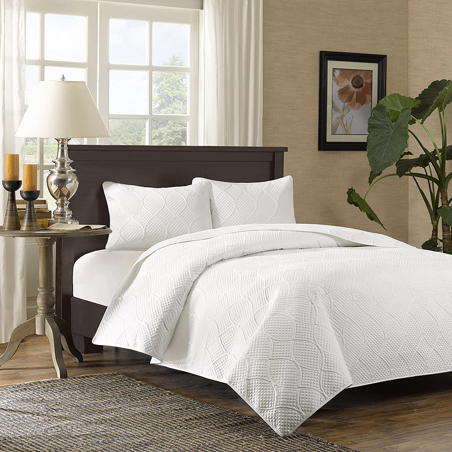 amazoncom madison park corrine 3 piece coverlet set king white home u0026 kitchen - California King Bed Sheets