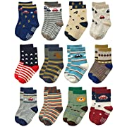 RATIVE Non Skid Anti Slip Crew Socks With Grips For Baby Infant Toddlers Kids Boys (3-9 Months, 12 designs/RB-71215)