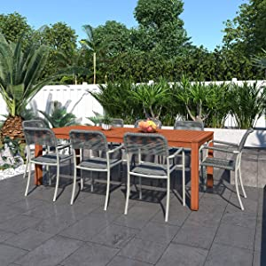 Brampton Payson 9-Piece Outdoor Rectangular Dining Table Set   Eucalyptus Wood   Ideal for Patio and Indoors