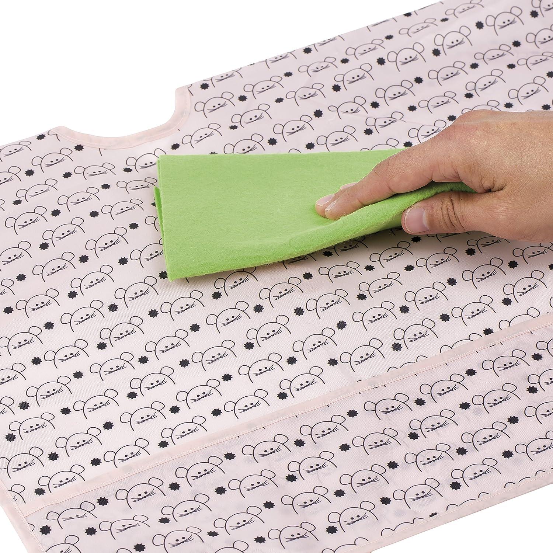 Mushroom Magenta Pink Lassig Washable Waterproof Longsleeve Bib with Crumb Catcher