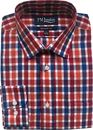 PM London - Camisa de Manga Larga para Hombre (Talla M, L, XL, 2XL), Color Blanco: Amazon.es: Ropa y accesorios